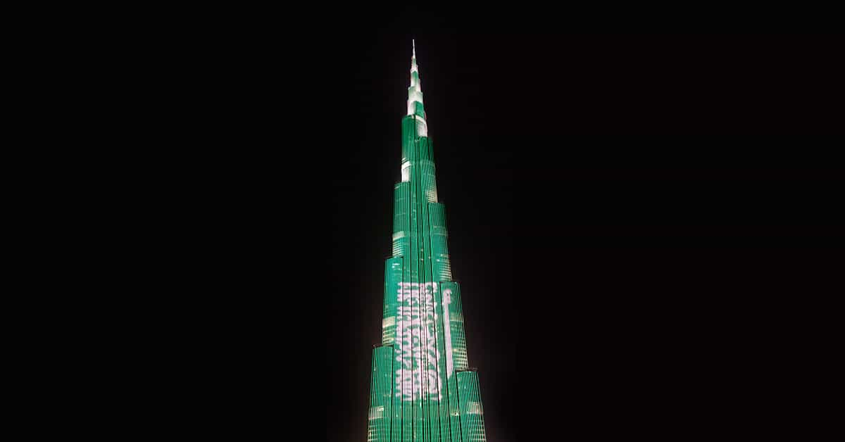 Burj Khalifa lighting up with the KSA flag, Dubai